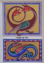 Amphisbène et Scitalis, enluminure anglo-saxonne du XIIIe siècle, Bestiaire d'Aberdeen