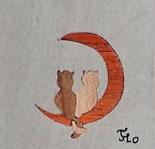 Magnet carré Chats sur la lune - 5x5