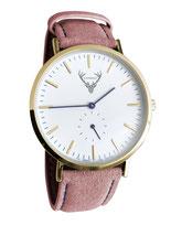 goldene Uhr mit rosa Wildleder Tracht