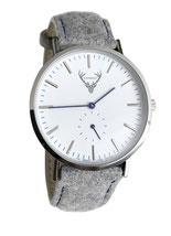 silberne Uhr mit grauem Filzband Tracht