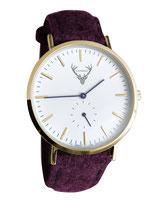 goldene Uhr mit weinrotem Filzband Tracht
