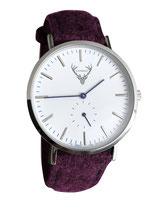 silberne Uhr mit weinrotem Filzband Tracht
