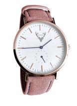 roségoldene Uhr mit rosa Wildlederband Tracht