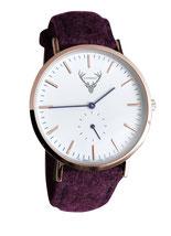 roségoldene Uhr mit weinrotem Filzband Tracht
