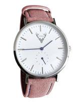 silberne Uhr mit rosa Wildlederband Tracht