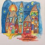 Laterne, Nacht, bunt, ungerahmt, Aquarell, handgemalt von Künstlerin JULIA! Neulinger -Kahl