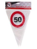 Vlaggenlijn 5m € 2,50 verkeersbord 50
