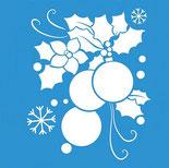 Plantillas o stencils de diferentes tamaños con diseños navideños para estarcir.
