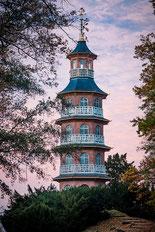 Pagode im Oranienbaumer Schlosspark, aus Bildband Dessau-Wörlitzer Gartenreich