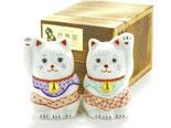 九谷焼通販 父の日ギフト 縁起置物 招き猫 チビ ペア 赤絵 細描 木箱入り