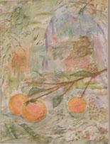 一枝の柿   水彩6号