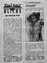 """Artikel auf der 3. Siete der Osterausgabe von """"Ihr Einkauf"""" zum Titlebild Hanis Oesterlein:""""Golgotha"""""""