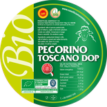 organic pecorino cheese from organic sheep's milk from tuscany pdo area 20 days of ripening aged on wooden planks label tuscany italy maremma