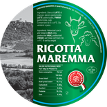 ricotta maremma mixed with cream produced with milk from cow and sheep fresh light italian tuscan cheese tuscany italy label