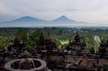 Aussicht vom Borobudur Tempel