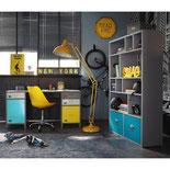 Décoration chambr ado thème New York en jaune et gris