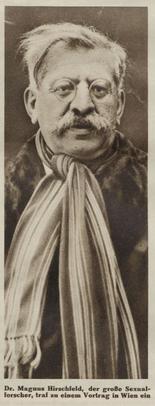 Sexualaufklärer Magnus Hirschfeld 1930 für Vorträge in Wien (Der Kuckuck, 12. Januar 1930).