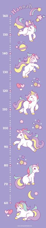 mit Name personalisierbare Kindermesslatte mit niedlichen Regenbogen Einhörnern,  auf Posterpapier gedruckt oder als Wandaufkleber