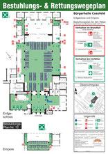Tanzschul-Veranstaltung mit Tischreihen (Biertische) / inkl. 5 Beh-Pl. / inkl. Empore (mit Tischen) (bis 421 Personen)