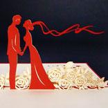"""Pop Up Karte """"Brautpaar auf Blumenwiese"""""""