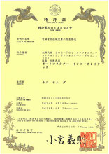特許証(日本)