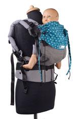 Ergonomische Babytrage, stufenlos anpassbar, einfach anzulegen, Bauchtrage und Rückentrage.