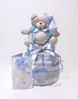 """Торт из памперсов  с именным держателем """"Мишутка Соня"""" Именной подарок на рождение."""