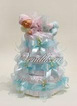 Подарок для новорожденного мальчика- торт из памперсов с ангелом