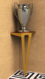 Console d'angle couleur or satiné pour exposer un trophée ou une coupe.