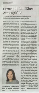 Nachhilfe plus! in der Zeitung, WNZ, VRM, Firmenübergabe, Mutter an Tochter, Familenunternehmen