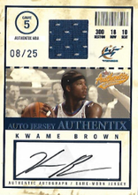 KWAME BROWN / Auto Jersey Authentix - No. AJA-KB  (#d 8/25)