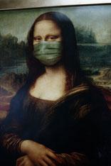 Symbolbild Covid-19: Mona Lisa mit Mund-Nase-Schutz