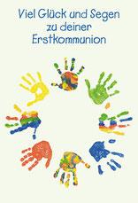 Karte zur Kommunion Bunte Hände Handschmeichler