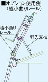 極小曲りレール 軒先支柱