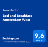 geust review award bed and breakfast amsterdam west -  9.5/10
