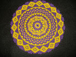 Hand Stitched Purple and Gold LSU Lace Design Beaded Doily