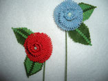 Hand Stitched Red or Blue Beaded Rose