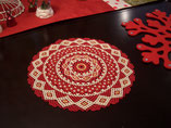 Hand Stitched Red, Eggshell, and Metallic Gold Lace Design Beaded Doily