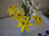 Hand Stitched Beaded Yellow Daffodil