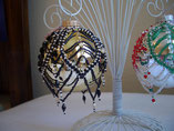 Hand Stitched Beaded Black and Eggshell Ornament Cover
