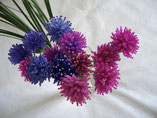 Hand Stitched Purple and Fucshia Beaded Scottish Thistle Flower