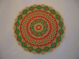 Hand Stitched Gold, Red, and Green Beaded Christmas Doily