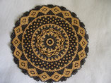 Hand Stitched Black and Gold Lace Design Beaded Doily