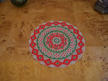 Hand Stitched Silver, Red, and Green Beaded Christmas Doily