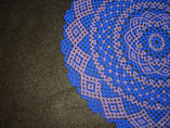Hand Stitched Cobalt Blue and Purple Lace Design Beaded Doily