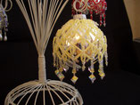 Hand Stitched Beaded Yellow Crystal Drop Design Ornament Cover