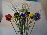Hand Stitched Beaded Pansy Flowers