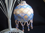 Hand Stitched Beaded Blue and Peach Large Net Design Ornament Cover