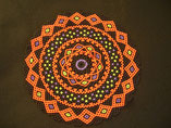 Hand Stitched Black, Orange, Purple, and Green Halloween Harlequin Doily