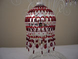 Hand Stitched Beaded Red Crystal Ornament Cover